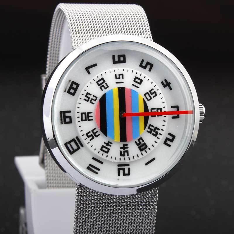 Paidu reloj de pulsera con gran cabeza redonda, hueca reloj hacia fuera, regalo del reloj de banda de red