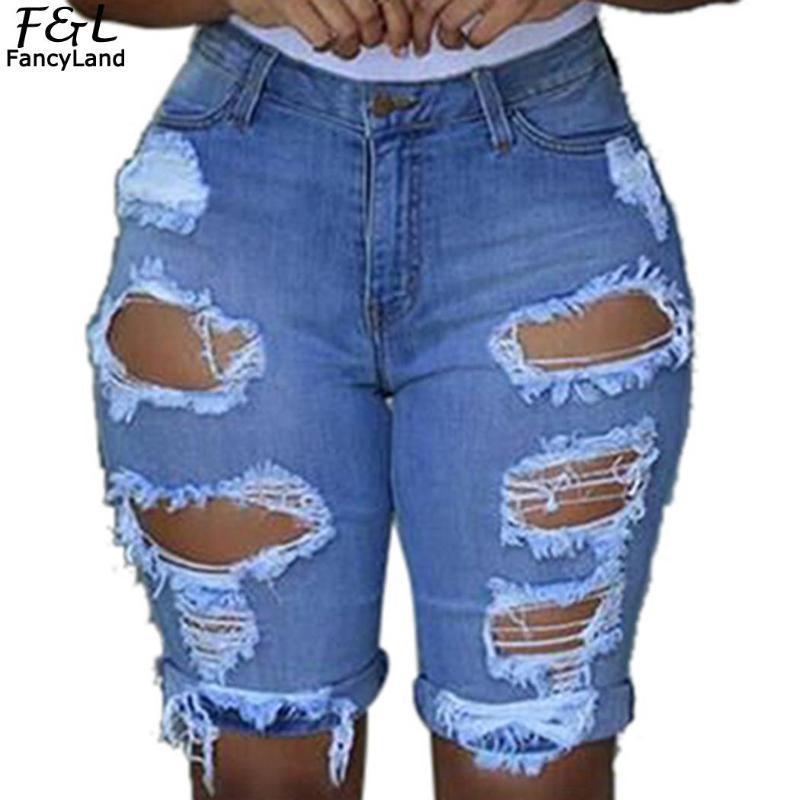 المرأة جينز المرأة عارضة الصلبة الدنيم السراويل خمر ابيض الأوسط الخصر ثقب الصيف البسيطة السراويل سستة زر