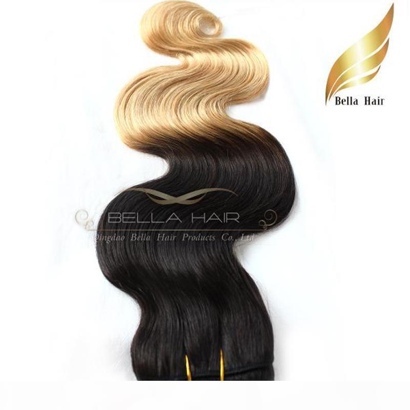 Perulu Ombre İnsan Saç Uzantıları Atkı Dip Boya İki Ton # T1B # 27 Renk 14