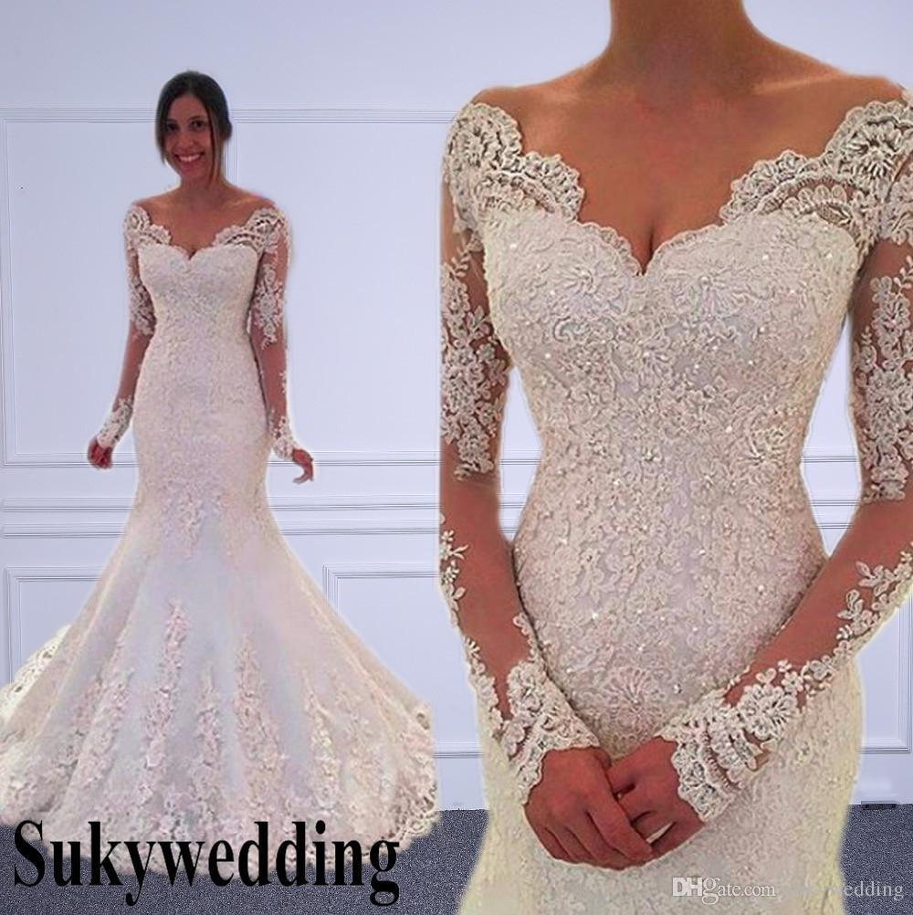 2019 vestidos de casamento mangas compridas sereia Sheer Tulle Voltar sexy vestidos de casamento da sereia País vestidos de noiva Custom Made Vestido de Noiva