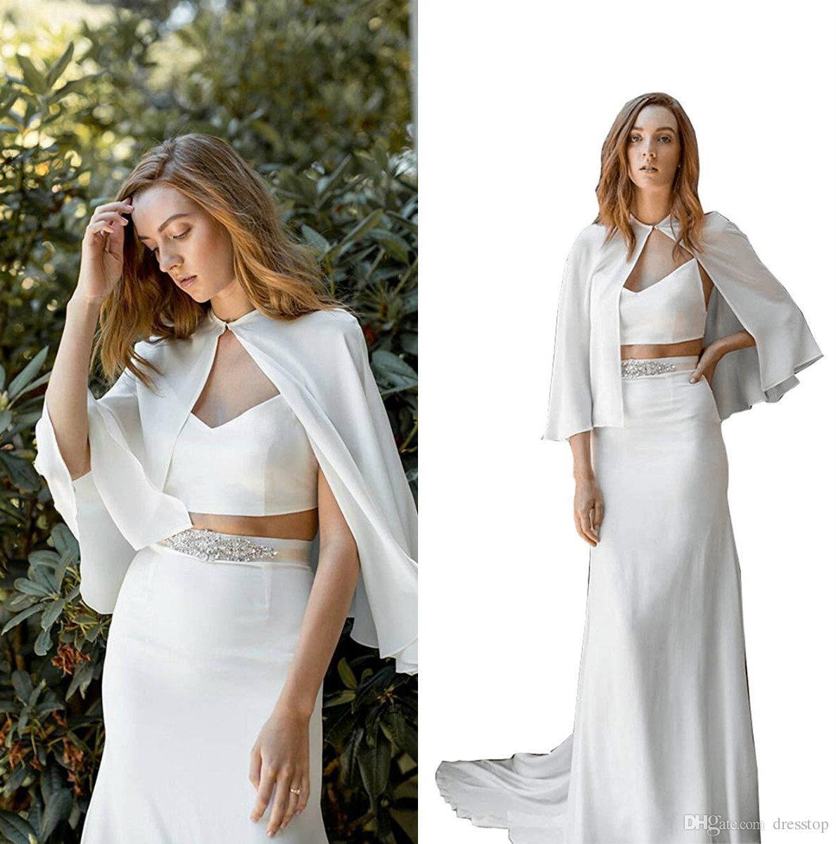 Cheap White Bridesmaid And Bride Capes Custom Made Chiffon Wedding Party Robe For Women Jackets Bolero Free Shipping