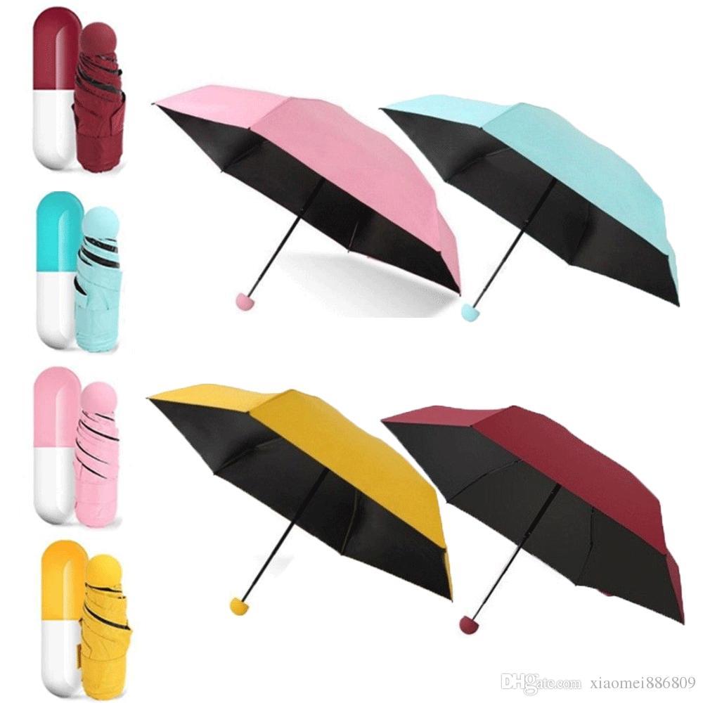 Mini Folding Umbrella Pocket Parasol Rain Anti-UV Light Travel Umbrella Yellow