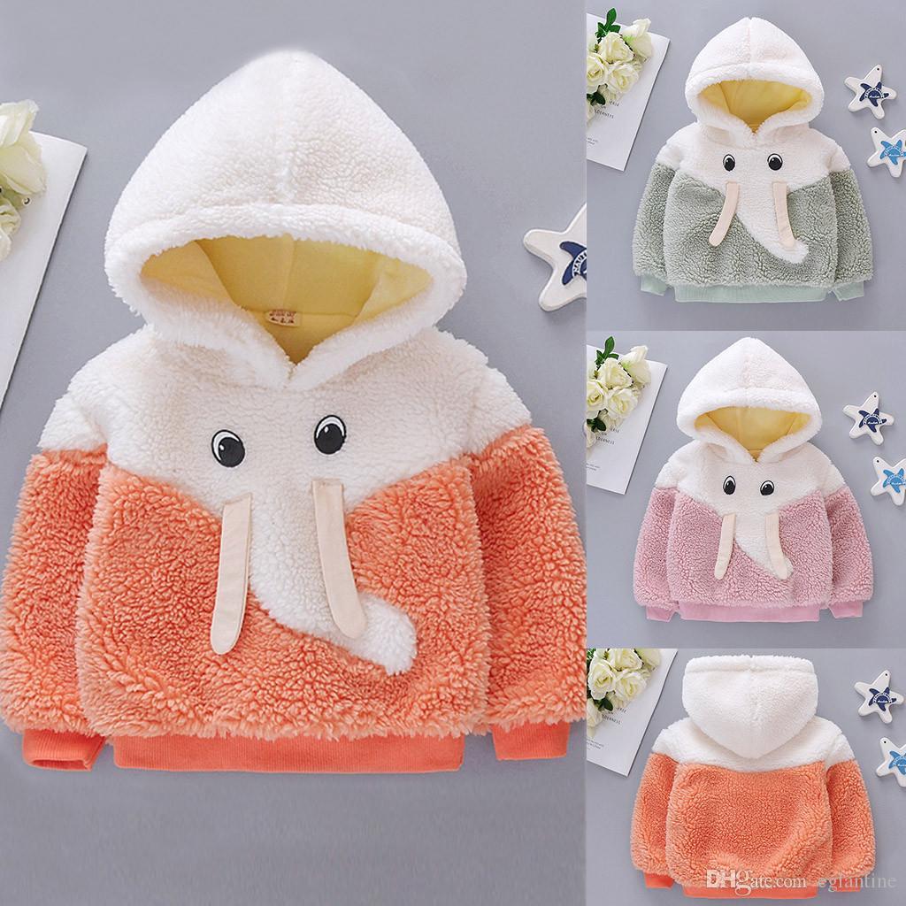 Escudo del niño de los bebés del invierno a prueba de viento con capucha de dibujos animados caliente Outwear la chaqueta + bolsa