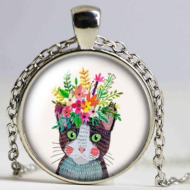 Belleza Flores unicornio 25mm foto de los gatos SilverBronze colgante collar de cristal cabujón muchacha de las mujeres de la joyería de la fiesta de cumpleaños