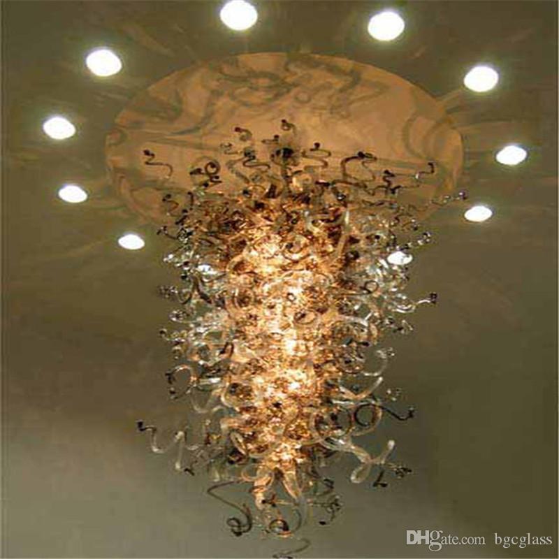 Подвесные светильники подвесных светильников подвесных ламп Потолочная лампа Большой размер Художественные стеклянные Освещения висит многоцветная люстра