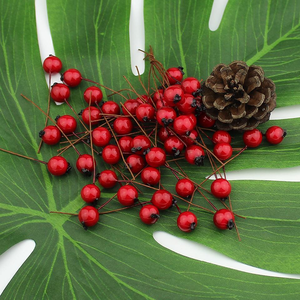 1cm 50pcs Yapay Çiçekler Stamenler Kırmızı Meyveler Kiraz Sahte Düğün Noel Dekorasyon Köpük Fruit Smooth
