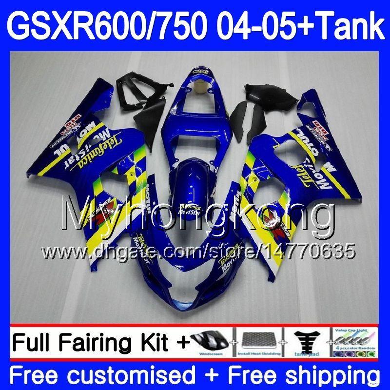 Corpo + Tanque para Suzuki GSXR 750 GSX R750 K4 GSXR 600 GSX-R600 04 05 295HM.18 GSXR-750 Movistar Blue GSXR600 04 05 GSXR750 2004 2005 Fairings