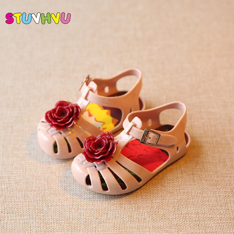 Impermeable y transpirable resistente al desgaste antideslizante Zapatos príncipe bebé de la flor muchacha de los niños sandalias de playa rosa púrpura de la plantilla de longitud 11,8 a 20,8 CM