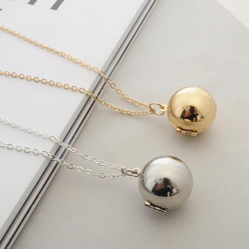 Message Ball Locket Necklace Secret Message Ball Pendant Locket Chain Jewelry Necklace Gifts