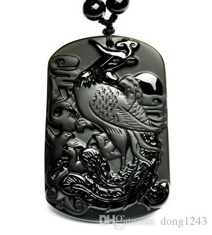 Wholesale Natural black obsidian carved beautiful Phoenix Lucky pendants necklace beads jewelry earring