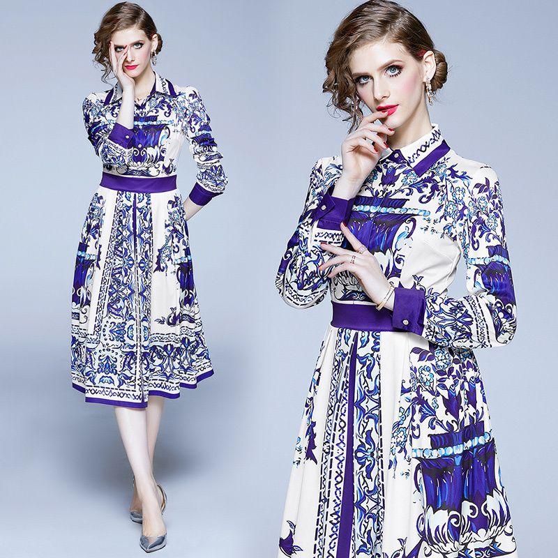 2020 barroco floral de primavera y verano de lujo otoño Pista impresión del collar del botón de manga larga Mujeres Frente casual de las señoras de la Parte A-Line Vestido Midi Beach