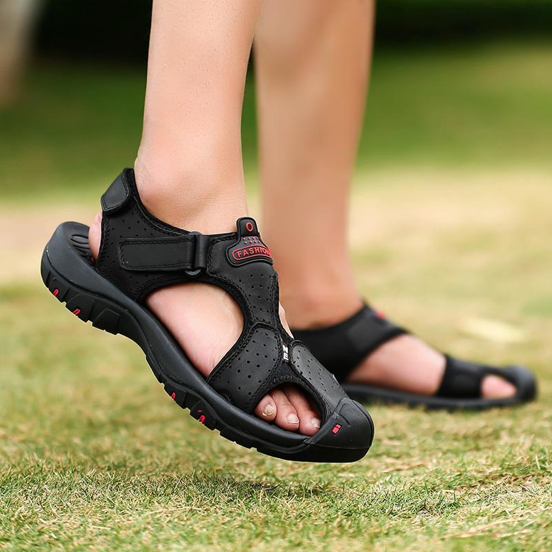 Hot Sale-Men Sandals Herren Freizeitschuhe mit überragendem Tragekomfort auf und abseits der Strecke Sandalen Gummi-Laufsohle Größe 38-47