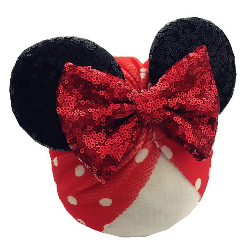 Sequined Bows Baby Headbands Ears Girls Hats Newborn Turban Beanie Caps Baby Bows