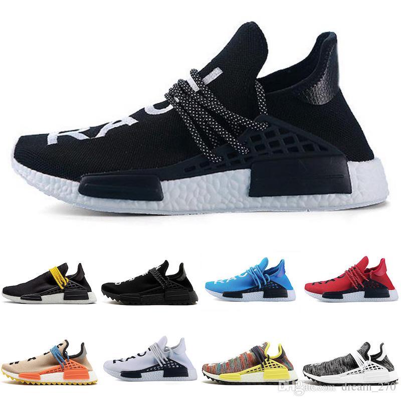 2019 designer Human Race Hu trail pharrell williams running shoes Nerd black cream Holi trainers mens women sports runner sneaker