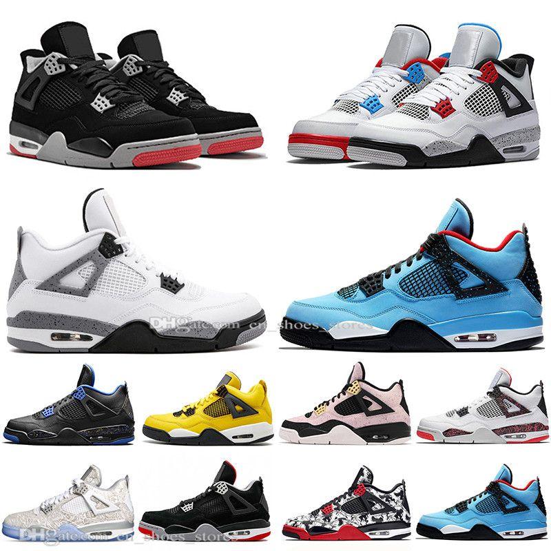 Günstige 2019 New Bred 4 4s Was The Cactus Jack Laser Wings Herren Basketball Schuhe Weißzement Eminem Pale Citron Herren Sport Designer Turnschuhe