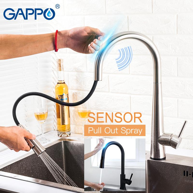 GAPPO Smart Sensor Touch Control Kitchen Faucets GOLDEN Stainless Steel Mixer Gold Touch Faucet for Kitchen Pull Out Sink Taps T200424