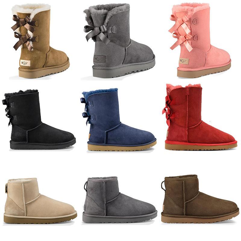 Toptan Lüks Tasarımcı Avustralya Kadınlar Kış Kar Boots Klasik Bilek Diz çök Kısa Bow Kürk Boot Siyah Kestane Moda Sneakers Ayakkabı