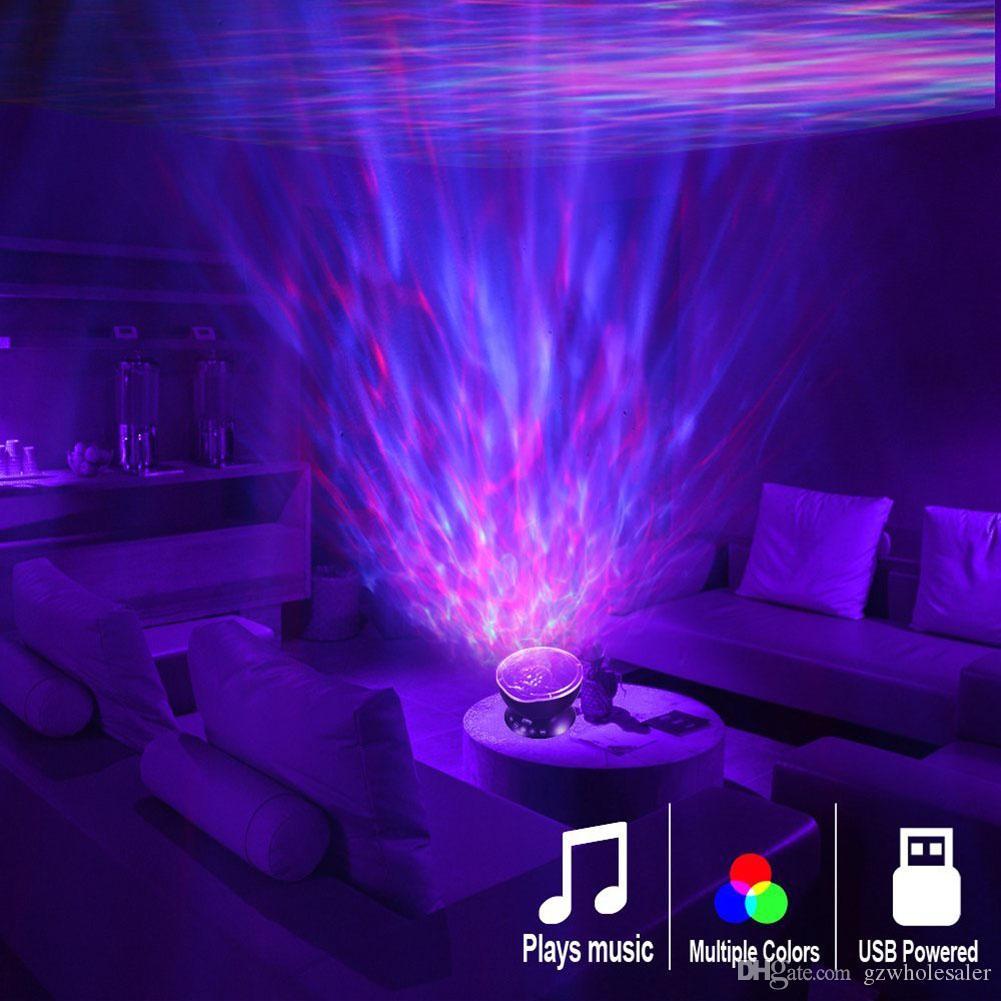 Onda de océano del proyector LED de luz de la noche, construido en control remoto del reproductor de música 7 Luz Cosmos estrella Luminaria para Kid Dormitorio