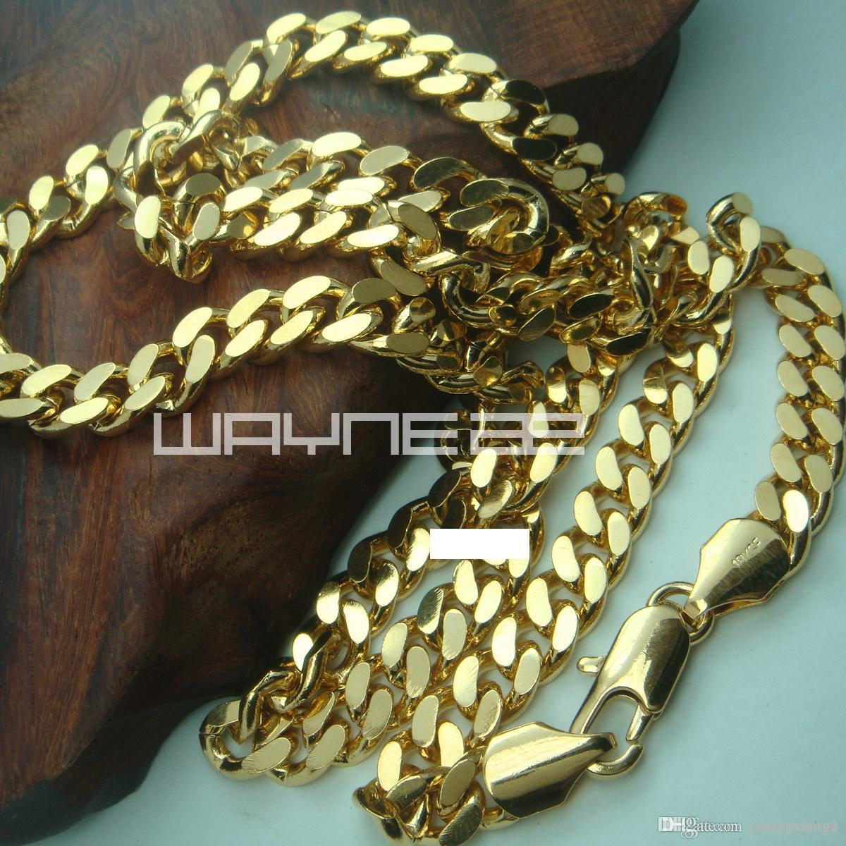18K Yellow Gold Filled Men's 60cm Lenght 8mm Width Chain Necklace Jewelry N219