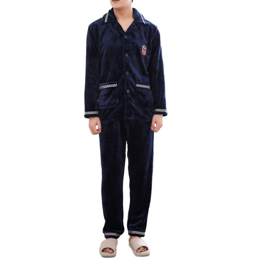 Winter Men Autumn Pajamas Sets Flannel Cashmere Thickened Long Sleeved Home Suit