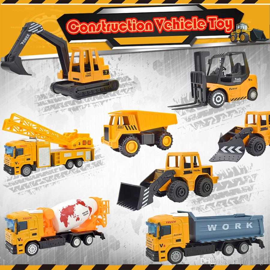 8 PCS/Set Inertia Engineering Car Toys for Children Die-cast Alloy Construction Vehicle Pull Back Truck Model for Kids Gifts Home Decoration