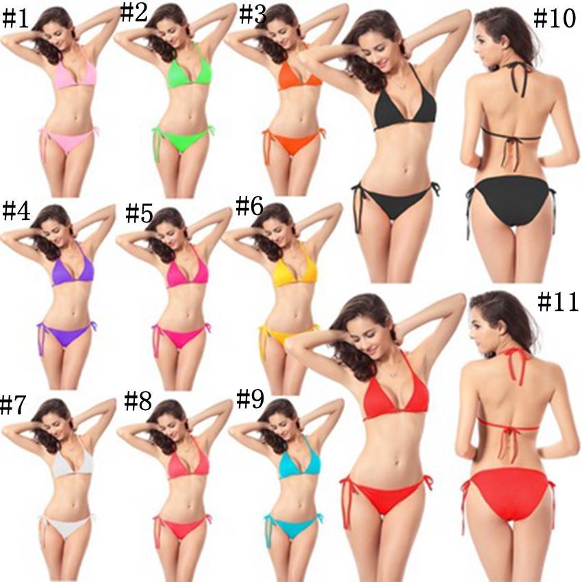 ملابس للنساء ملابس السباحة مثير بيكيني للنساء ملابس الشاطئ الصلبة سلسلة بيكيني من قطعتين 11 الألوان ZZA241