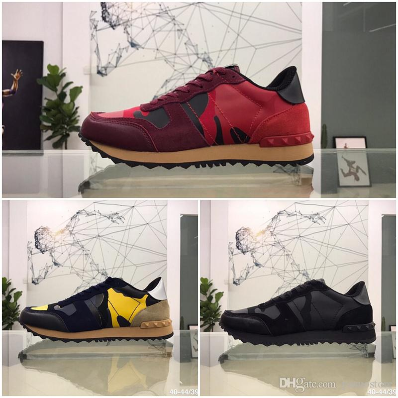 Valentino  homens das mulheres calçados casuais Designer alta qualidade unisex laço de couro camuflagem luxo par de sapatos de luxo rebite planas