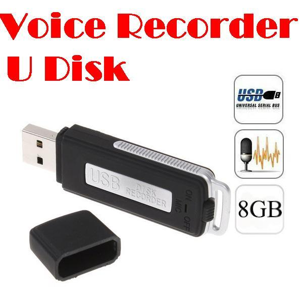 20pcs Mini 8GB USB مسجل الصوت الرقمي Dictaphone قرص محرك أقراص شكل WAV أسود اللون