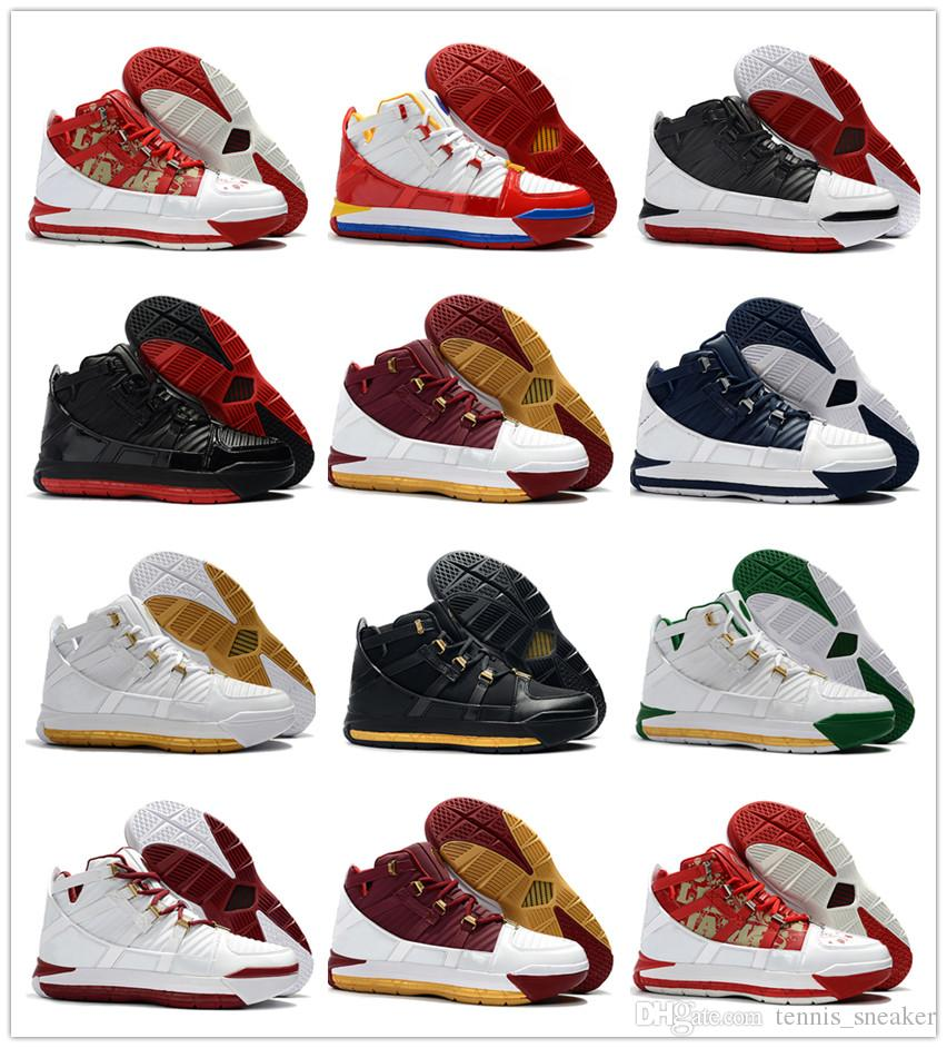 Увеличить Леброн 3 Metallic Gold Black Men Баскетбольная обувь Джеймс 3 QS ШВСМ Главная White Navy SuperBron Увеличить CTK Китай издание Спорт Кроссовки