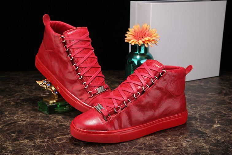 Top del alto de cuero arrugado colores mezclados marca de moda Negro blanco rojo zapatos de diseño zapatos al por mayor de alta calidad de Arena Hombre ocasional Sneaker14