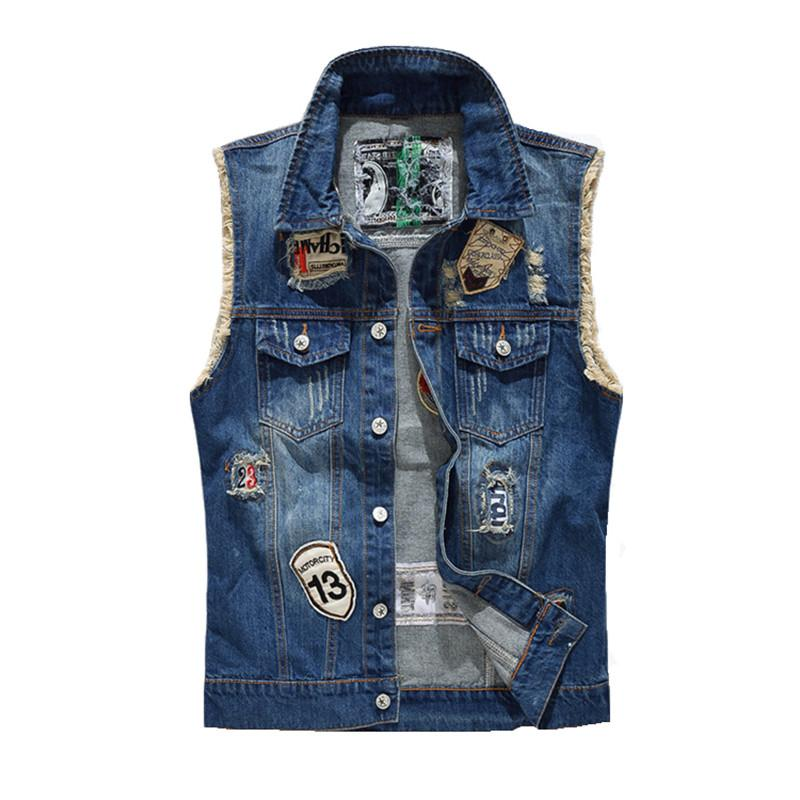 Denim Vest Men Fashion Designs Patch Cowboy effilochés Jeans Vestes sans manches Punk Rock Motorcycle Waistcoat