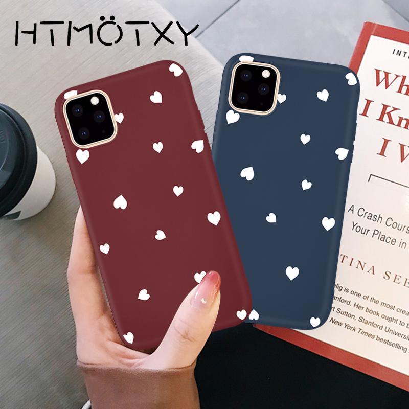Pareja caso ultrafina del amor del corazón para el iPhone SE 11 Pro XS Max XR X 8 7 más la caja de Shell suave mate a prueba de golpes Coque