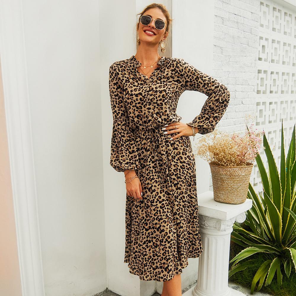 Новое прибытие Midi женщин леопарда платье с длинным рукавом моды Линия V Neck высокой талией BOHO летние платья вскользь Bohemian Vestidos T200623