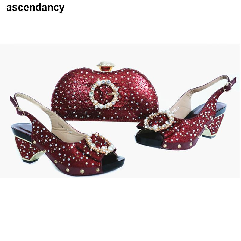 Bag and Shoe Set Nigeria Party Ladies Italian Shoes and Bag Set Decorated with Rhinestone Nigerian Women Party Pumps High Heels