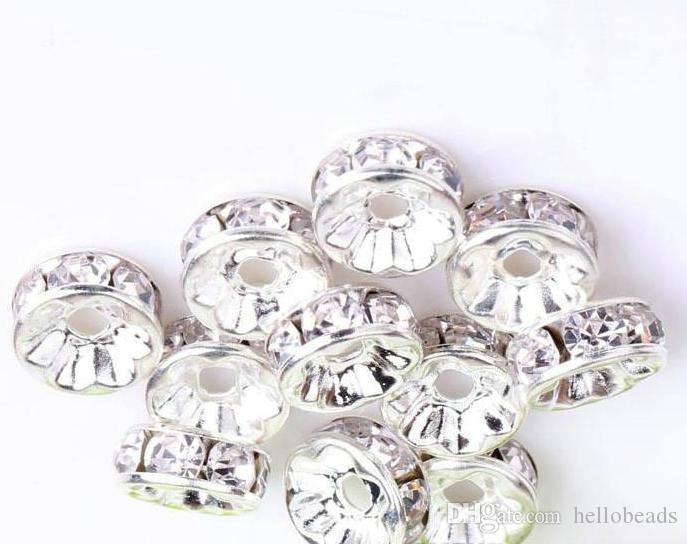 200 pz / lotto bianco chiaro 6 MM 8 MM 10 MM RONDELLE argento placcato strass di cristallo perline tonde distanziatori perline perle sciolte di cristallo