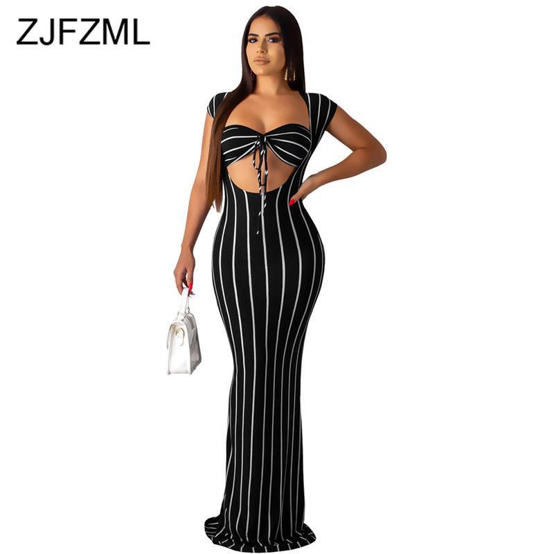 Abito a due pezzi Stampa a righe Sexy 2 Set di abbinamento Donne Vestiti da donna 2021 Bra senza spalline Top e Bandaggio Maxi Tracksuit Autoschiti