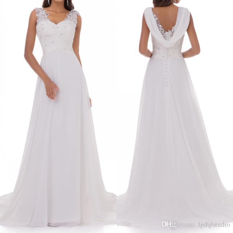 Robe de mariée en mousseline de soie blanc Superbe long train Sheer avec des perles Applique Robes de mariée Livraison rapide style de jardin
