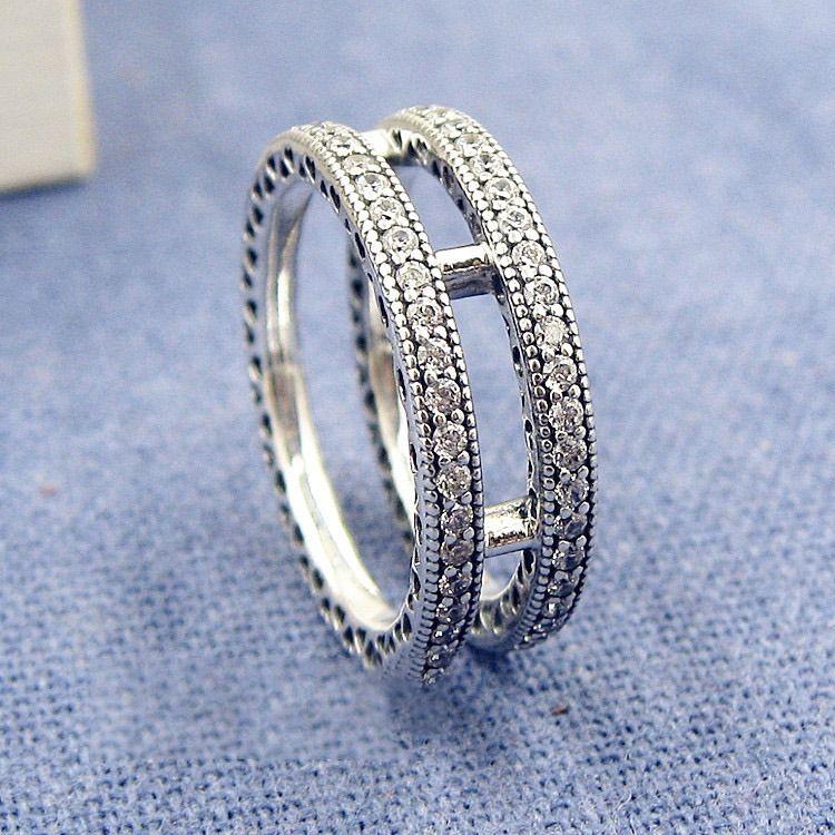 Двойное кольцо CZ бриллиантовое кольцо для Pandora стерлингового серебра 925 мода темперамент дикий леди кольцо подарок с оригинальной коробке