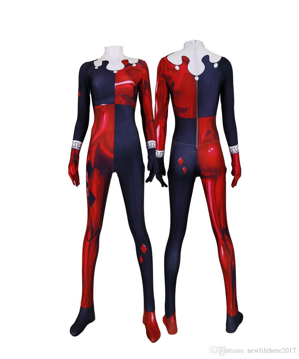 Adult Women Kids Red Jester Girl Harley Quinn Cosplay Superhero Costume Zentai Jumpsuit Bodysuit