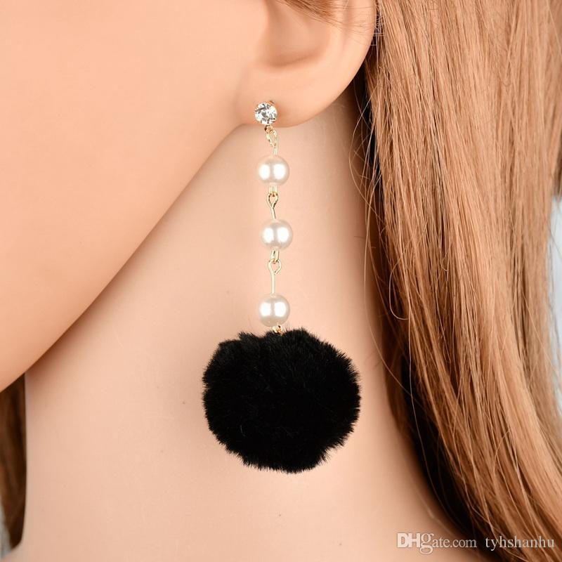 Ювелирные изделия нового способа имитации Pearl Стразы Белый Fur Ball Длинные серьги для женщин зимы способа серьги E2209