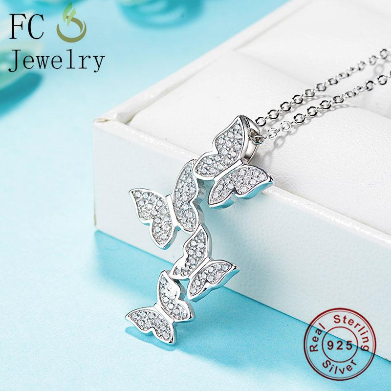 Wholesale- Jewelry 925 Sterling Silver Animal Butterfly Zircon Layering Pendant Necklace Chain For Women Chokers Trinket Christmas Colar