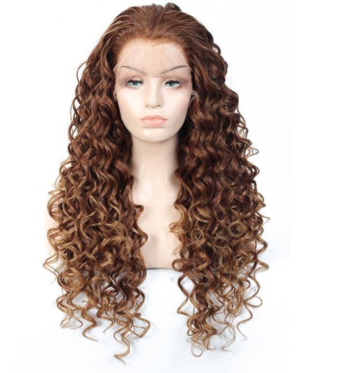 Européen et américain perruques avec Femelle Long Bouclés Cheveux, ignifuge haute température soie et fiber chimique avant de lacet perruque, Long bouclés