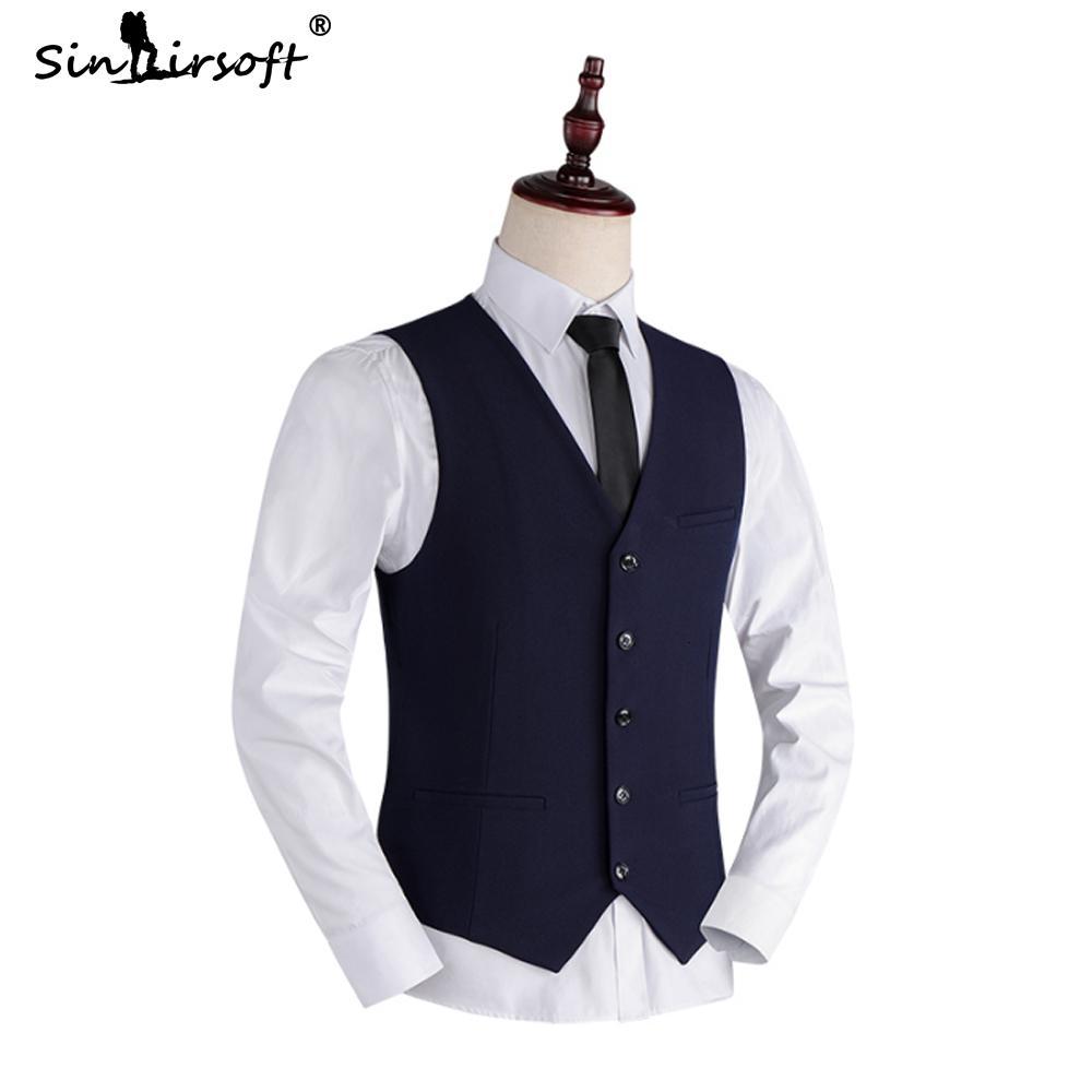 2019 Nouvelle arrivée robe d'affaires Gilets Homme Slim Fit hommes de soirée de mariage Gilet Homme manches Casual Veste d'affaires formelle