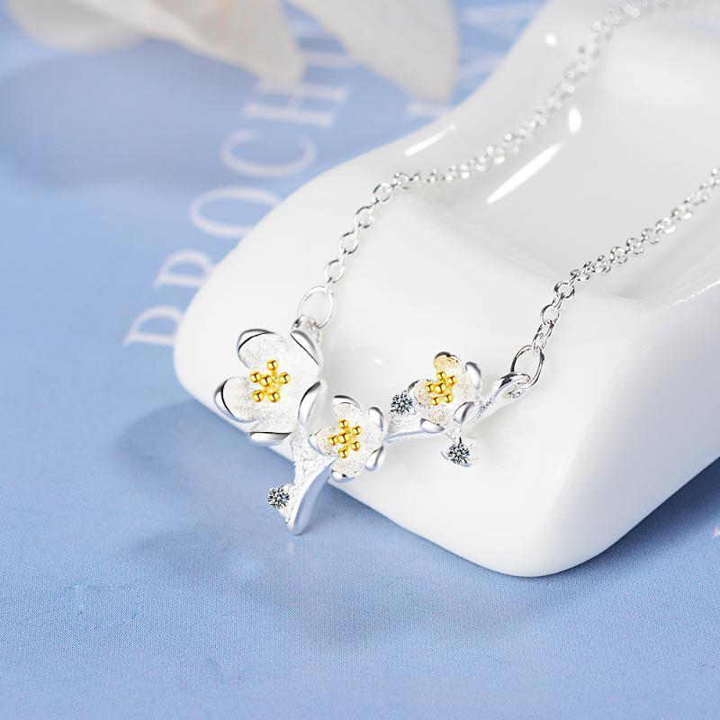 O transporte da gota 925 colares de prata esterlina Ameixa Flor PendantsNecklaces Jóias Collar Colar de Plata