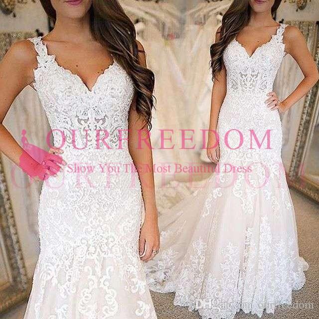 2019 V Neck Vintage Sereia Vestidos de Casamento Lace Apliques Sweep Trem Boêmio Jardim Vestido de Noiva Custom Made Country Wedding Wear