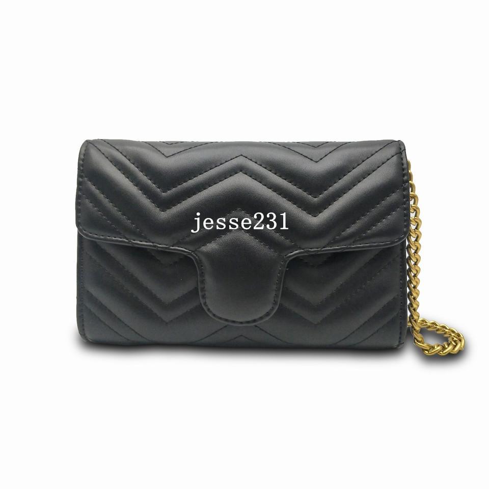 Qualitäts-Frauen-Schulter-Beutel PU-Leder Art und Weise Goldkette Beutel Kreuz Körper der reine Farbe Weibliche Handtasche Geldbörse Geldbeutel
