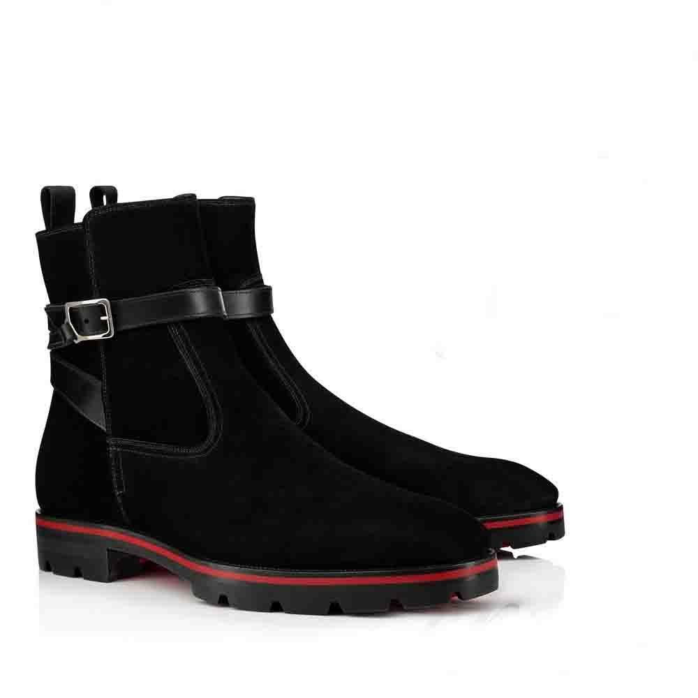 2019 Lüks Tasarımcı Kırmızı Alt Boot İçin Erkekler Ayakkabı Bilek Boots Kicko Stil Siyah Süet Dana derisi Şık Erkek Düşük Topuklar Boots Kırmızı Sole