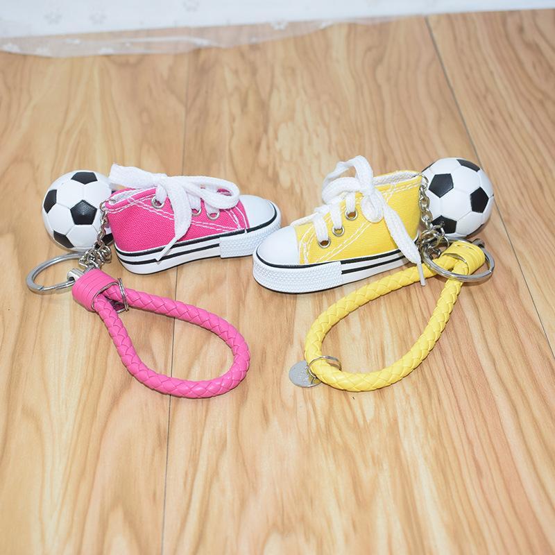 3.8cm 미니 PVC 축구 키 체인 미니 선물 24 스타일에 가죽 로프 자동차 가방 볼 열쇠 고리 홀더 키 체인 신발