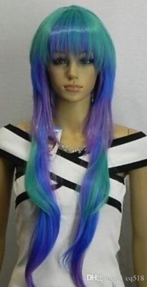 Peluca envío gratis COSPLAY nueva peluca cosplay larga recta multicolor