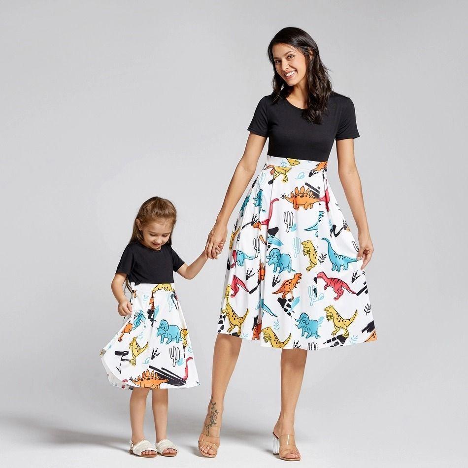 Mother Daughter Dresses Dinosaur Printed Cartoon short Dress Women Girl Summer Matching Dresses for Mom Daughter Family Look